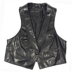 Black Faux Leather Biker Vest from NEW LOOK